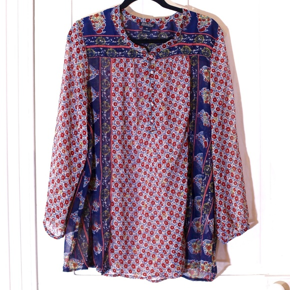 cb11ae065d50af Lucky Brand Tops - Lucky Brand Sheer Patchwork Paisley Peasant Top